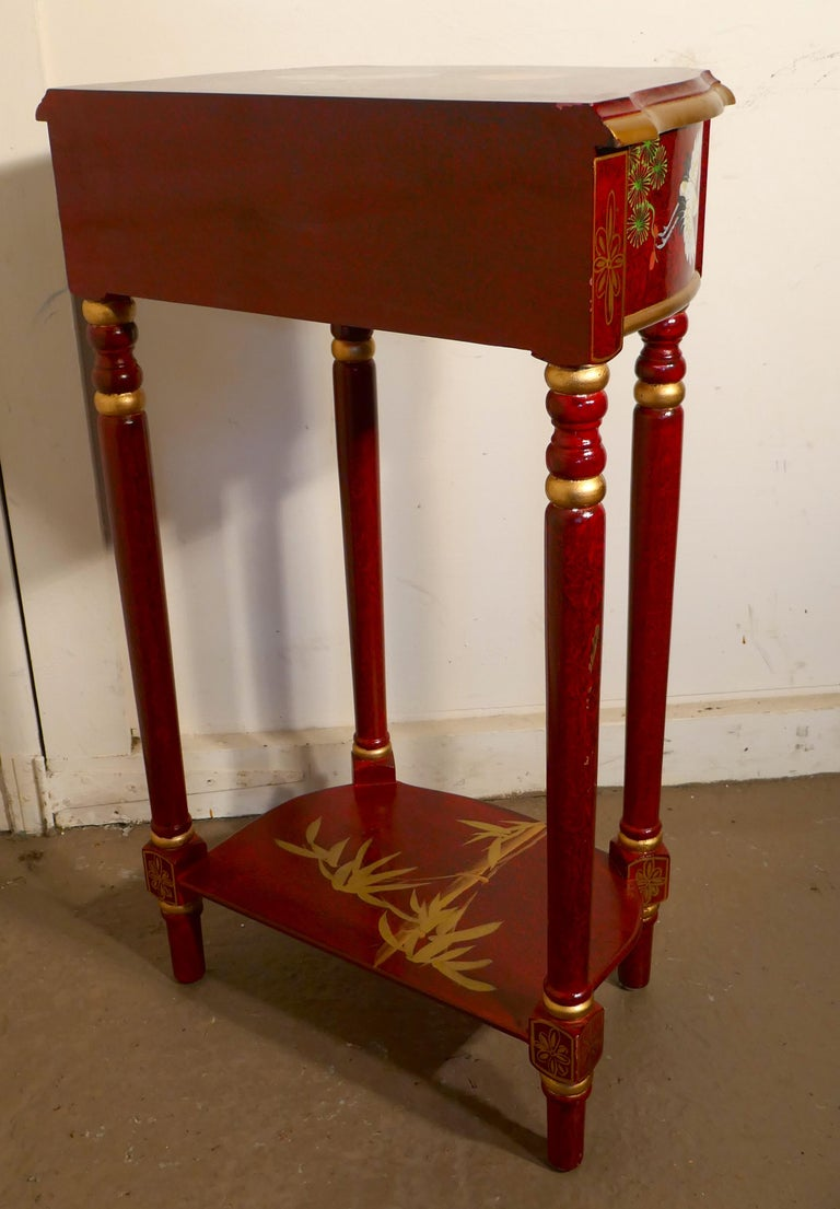 Red Lacquer Chinoiserie Side Table For Sale 1