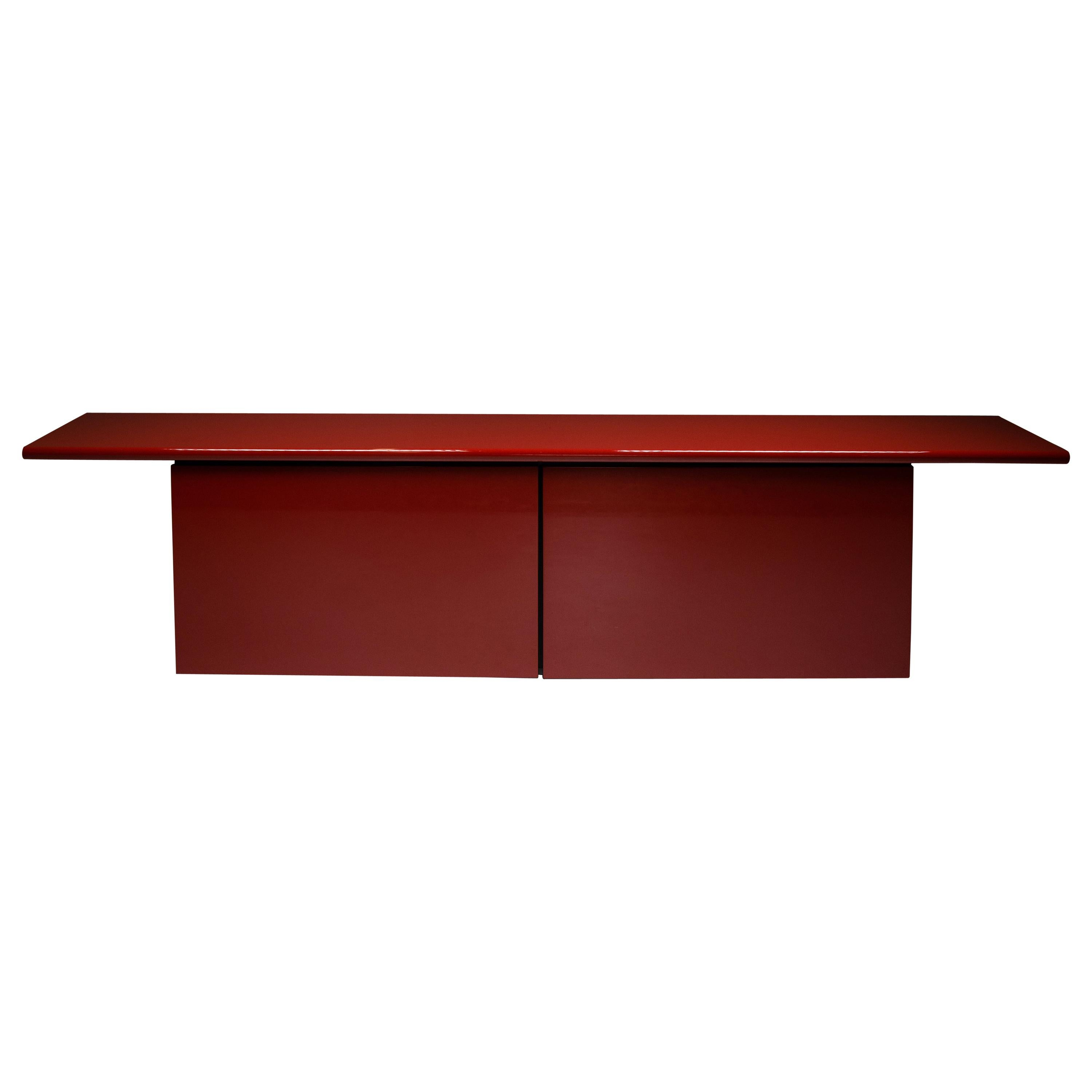 Red Lacquer Credenza by Giotto Stoppino for Acerbis