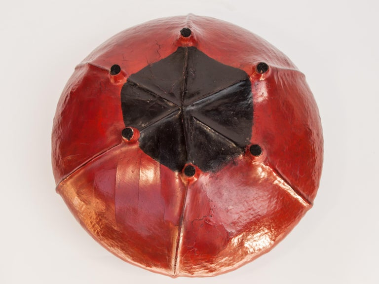 Red Lacquer Food Bowl, Khwet, Burma, Early to Mid-20th Century, Bamboo For Sale 11