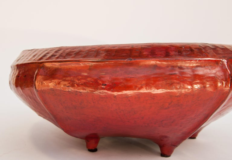 Red Lacquer Food Bowl, Khwet, Burma, Early to Mid-20th Century, Bamboo For Sale 13