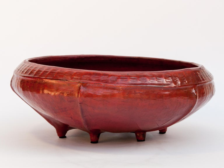 Hand-Crafted Red Lacquer Food Bowl, Khwet, Burma, Early to Mid-20th Century, Bamboo For Sale