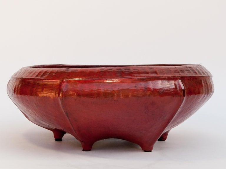 Red Lacquer Food Bowl, Khwet, Burma, Early to Mid-20th Century, Bamboo For Sale 1