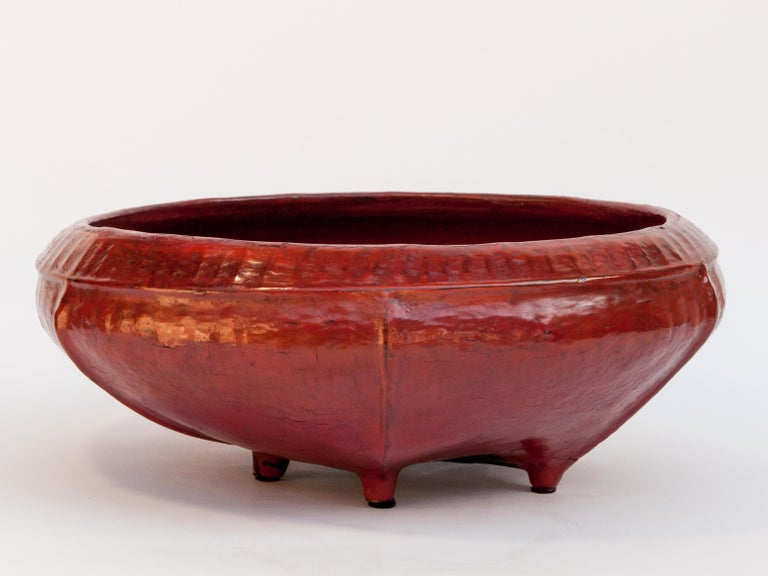 Red Lacquer Food Bowl, Khwet, Burma, Early to Mid-20th Century, Bamboo For Sale 2