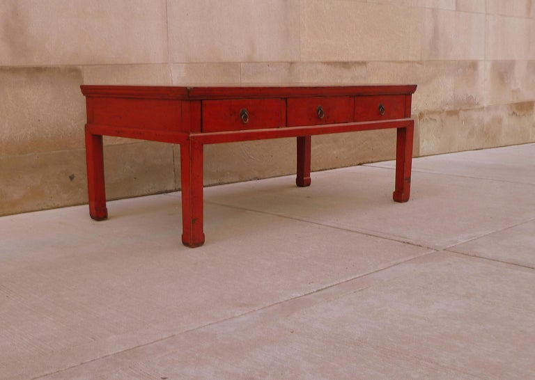 Red Lacquer Low Table For Sale 2