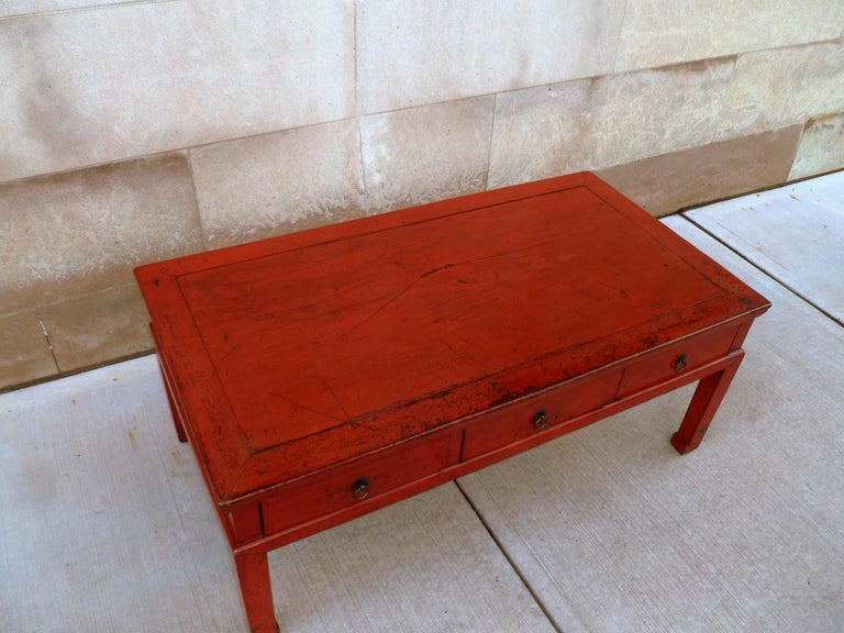 Red Lacquer Low Table For Sale 3