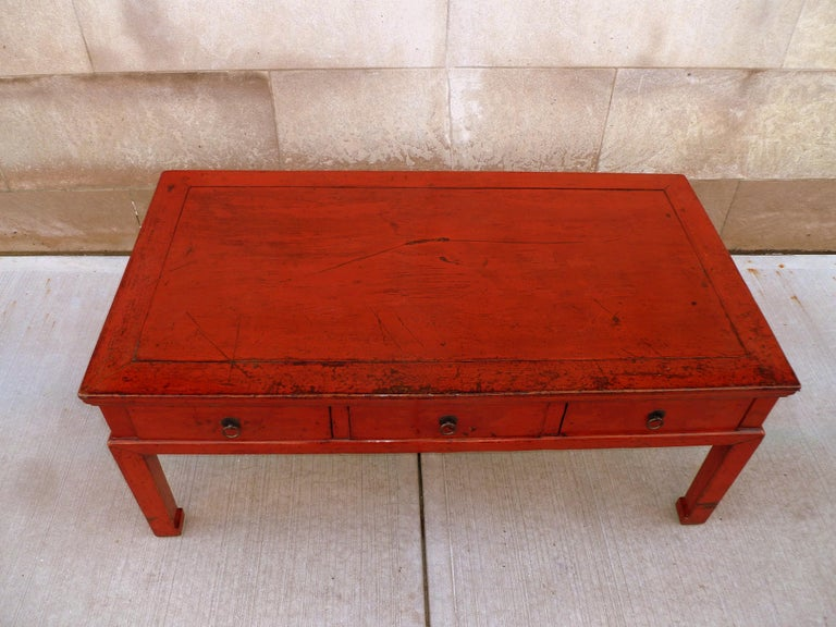 Red Lacquer Low Table For Sale 4