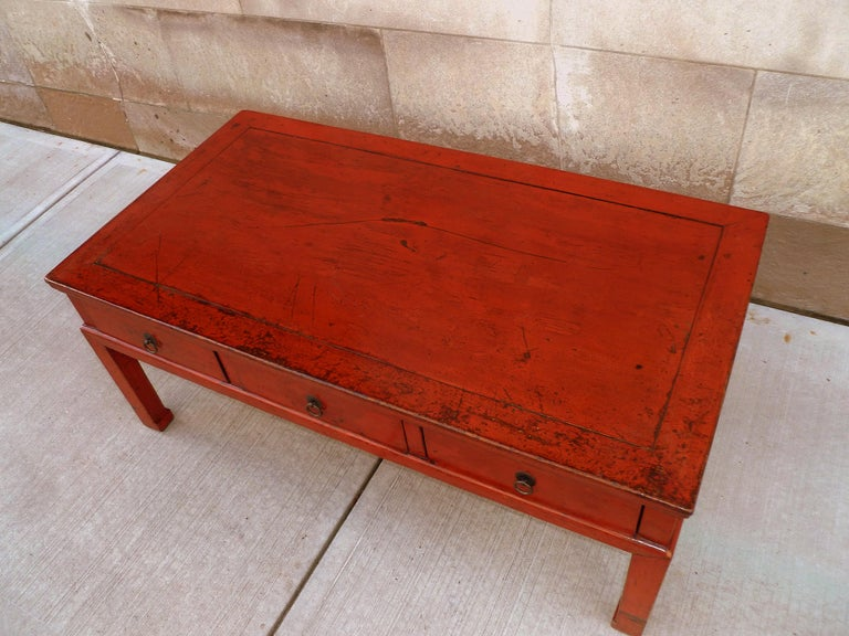Red Lacquer Low Table For Sale 5