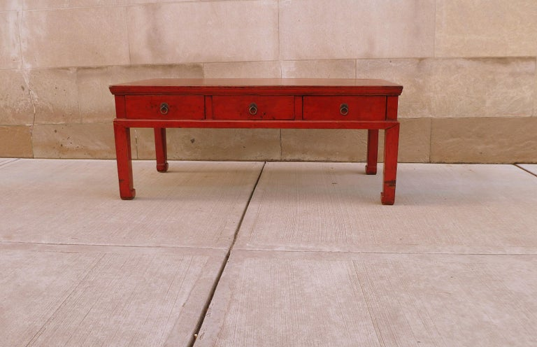 Qing Red Lacquer Low Table For Sale