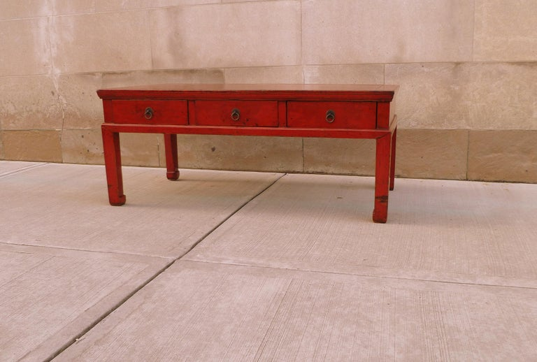 Chinese Red Lacquer Low Table For Sale
