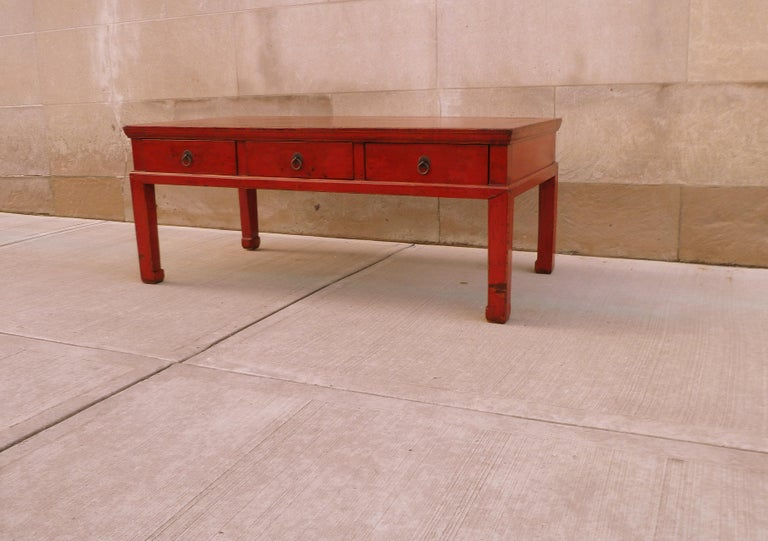 Lacquered Red Lacquer Low Table For Sale