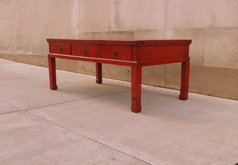 Red Lacquer Low Table In Good Condition For Sale In Greenwich, CT