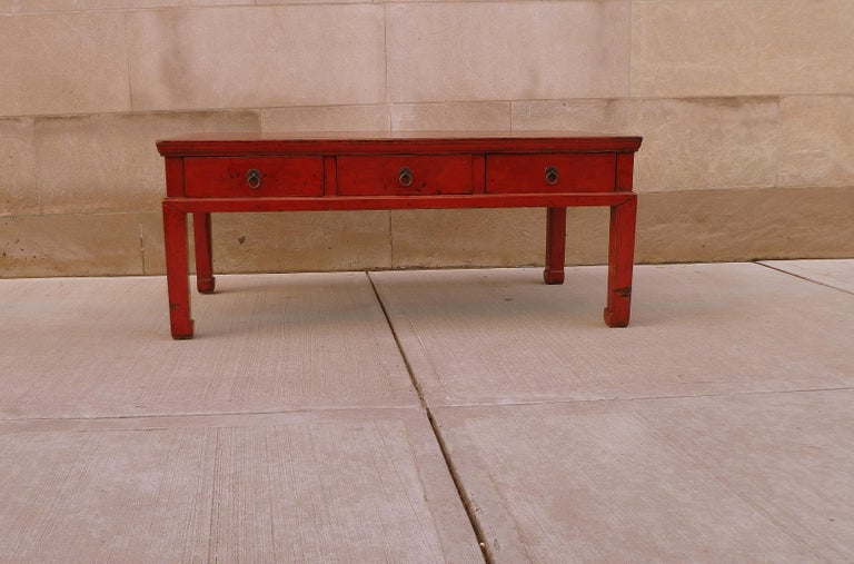 Early 20th Century Red Lacquer Low Table For Sale