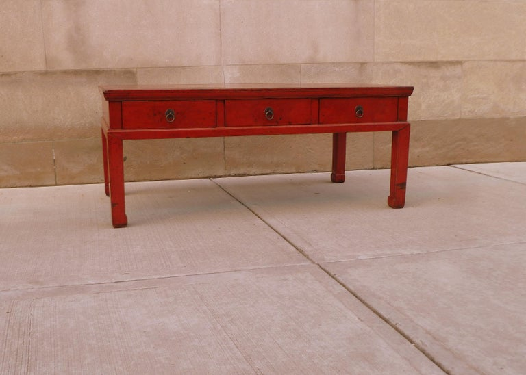 Wood Red Lacquer Low Table For Sale