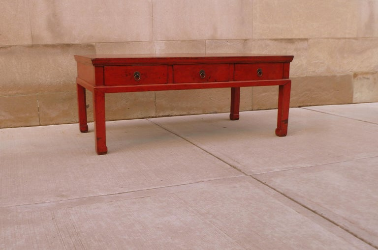 Red Lacquer Low Table For Sale 1