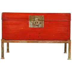 Red Lacquer Pig-Skin Leather Camphor Trunk on Stand