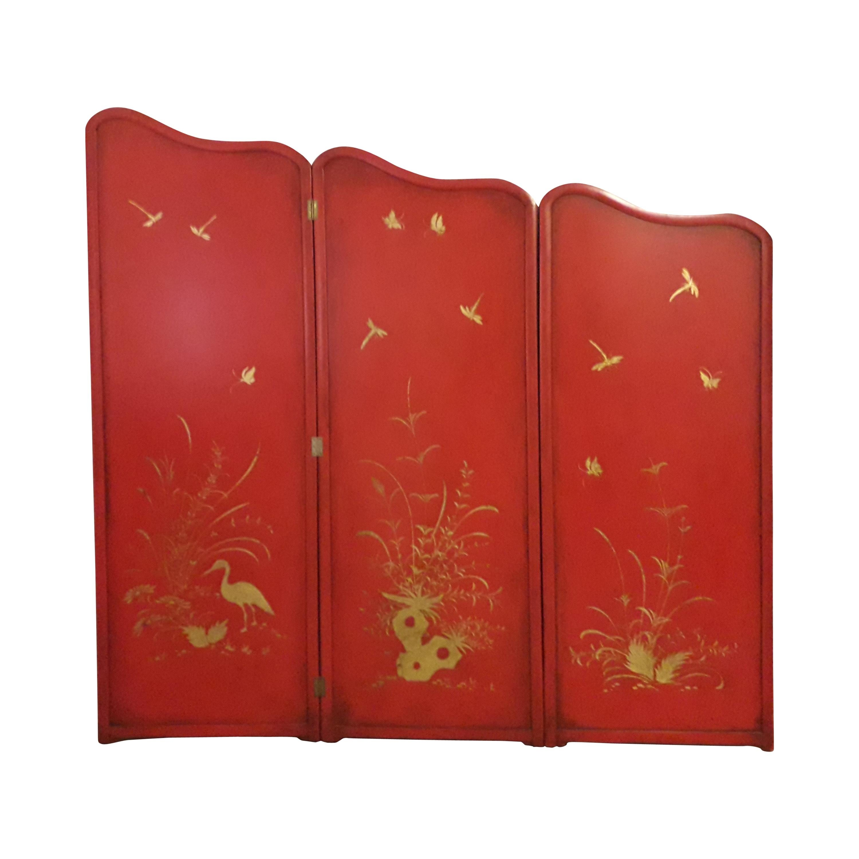 Red Lacquer Scarlet Chinoiserie Screen