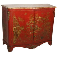 Red Lacquer Side Cabinet by Maison Jansen with Breche D'Alep Marble Top