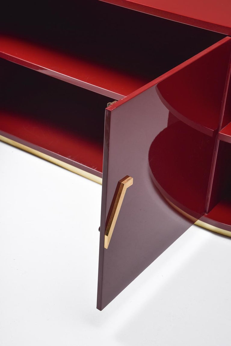 Red Lacquer Sideboard with Brass Details For Sale 5