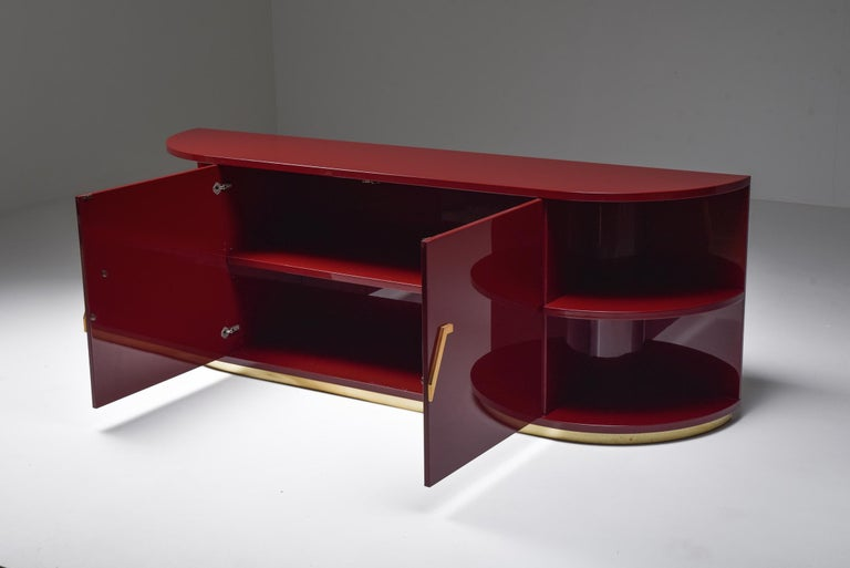 Hollywood Regency Red Lacquer Sideboard with Brass Details For Sale