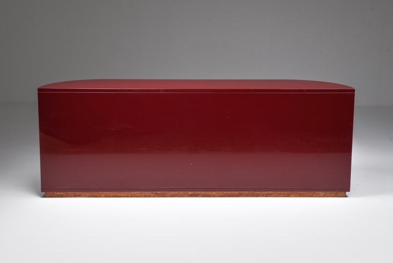 20th Century Red Lacquer Sideboard with Brass Details For Sale