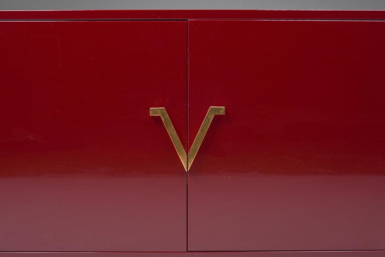 Red Lacquer Sideboard with Brass Details For Sale 1