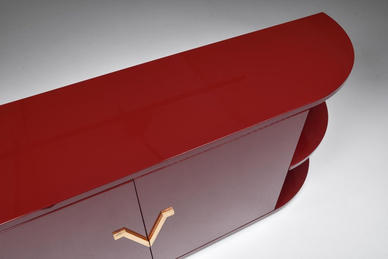 Red Lacquer Sideboard with Brass Details For Sale 2