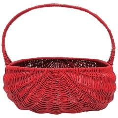 Woven Wicker Basket Red Lacquer, Large