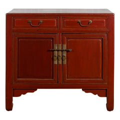 Red Lacquered 19th Century Qing Dynasty Elm Cabinet with Drawers and Doors