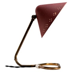 Red Lacquered Aluminium and Brass Table Lamp by Gnosjö Konstsmide, Sweden, 1950s