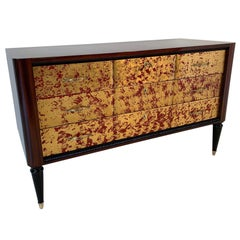 Red Lacquered and Gold Leaf Dresser, 1950s