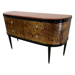 Red Lacquered and Gold Leaf Dresser with Red Marble, 1940s