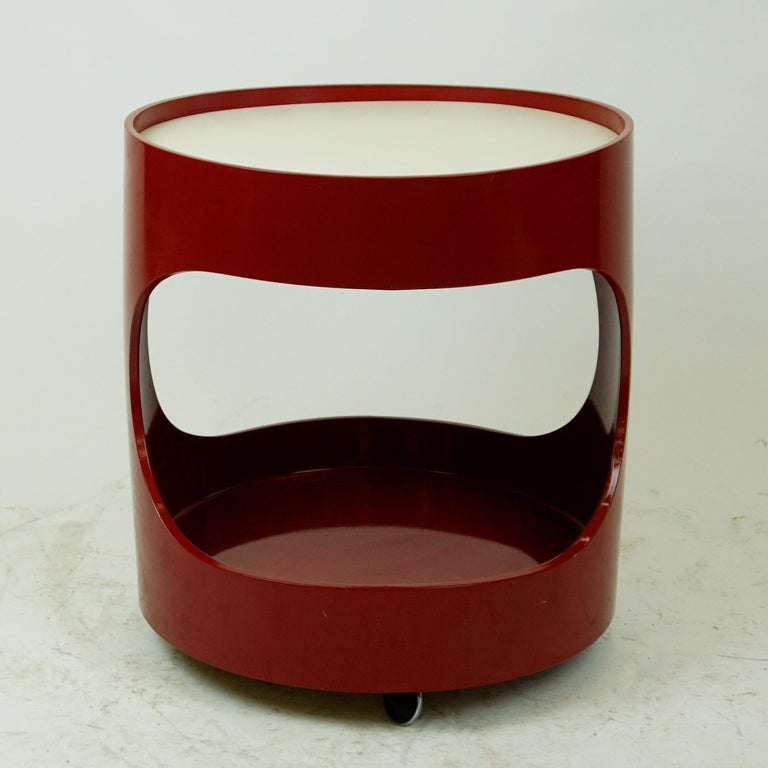 Space Age Red Lacquered Bar Trolley by Opal Germany, 1960s