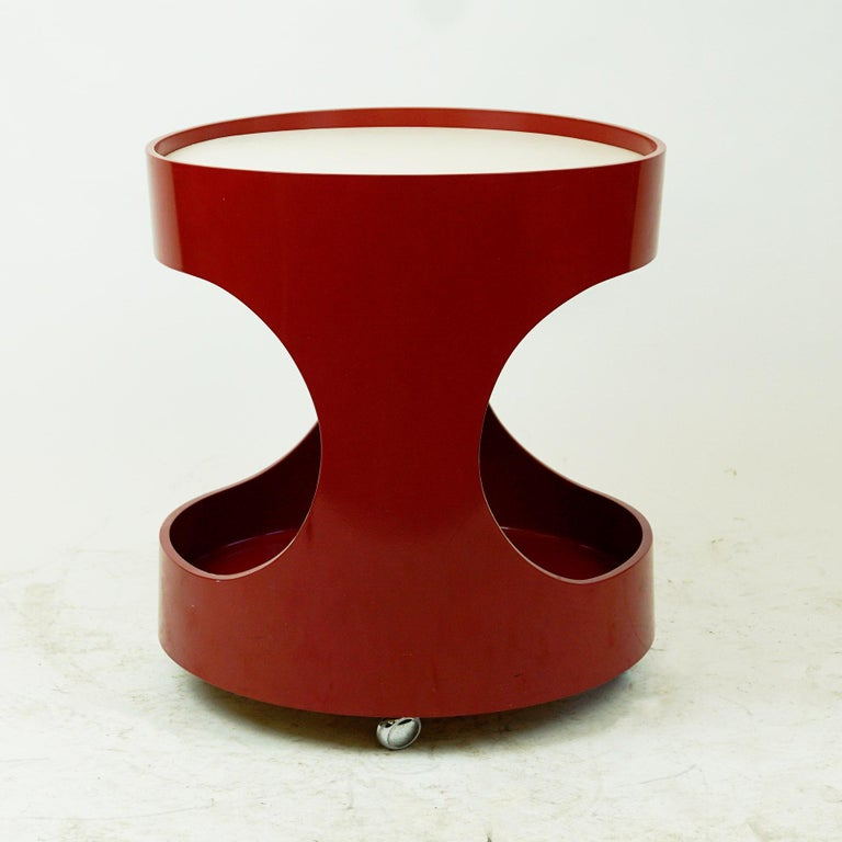 Mid-20th Century Red Lacquered Bar Trolley by Opal Germany, 1960s