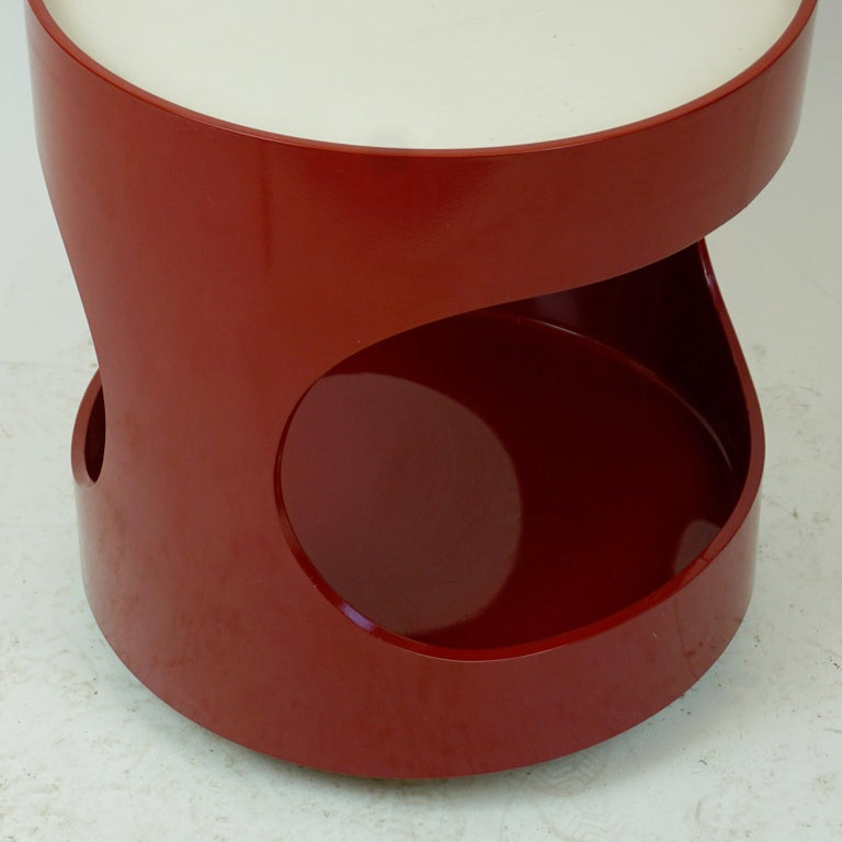Red Lacquered Bar Trolley by Opal Germany, 1960s 1