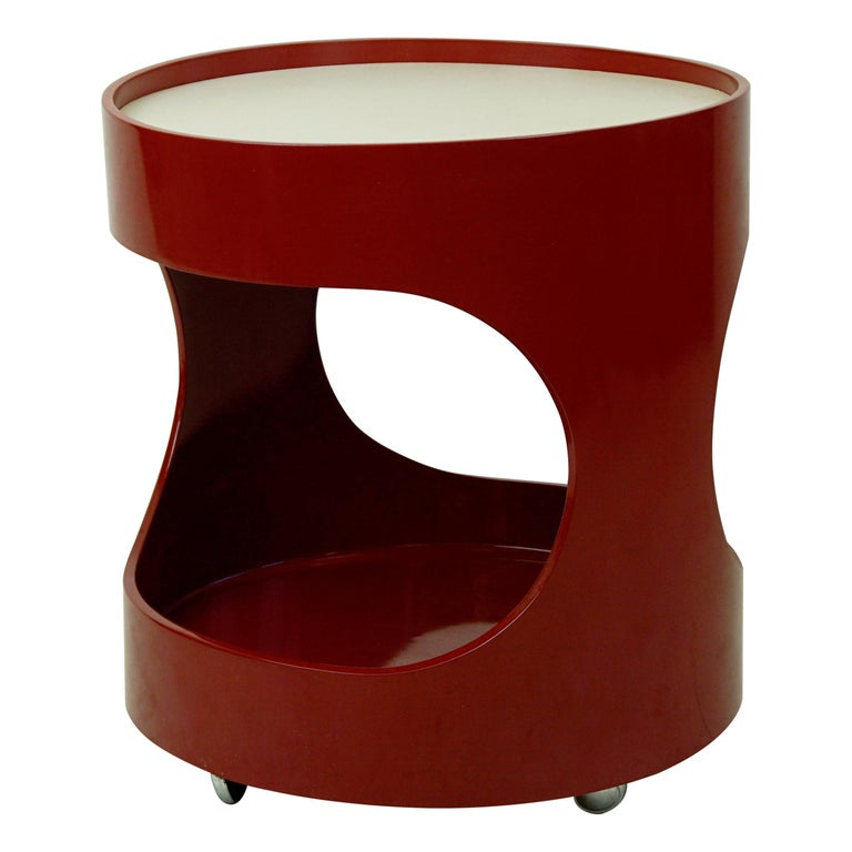 Red Lacquered Bar Trolley by Opal Germany, 1960s