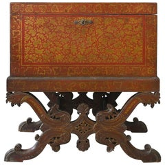 Red Lacquered Chest on Stand 19th Century, British India, 1860