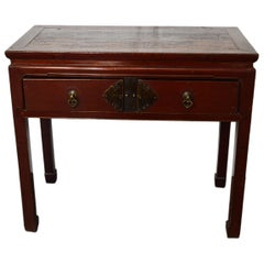 Red-Lacquered Chinese 19th Century Two-Drawer Desk with Brass Hardware