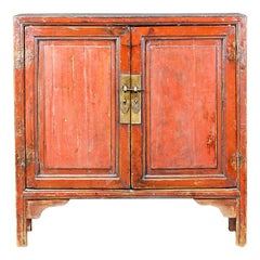 Red Lacquered Chinese Cabinet from Ningbo