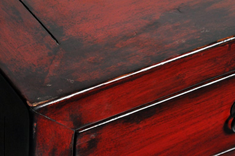 Red Lacquered Chinese Sideboard with Five Drawers and Three Shelves For Sale 12