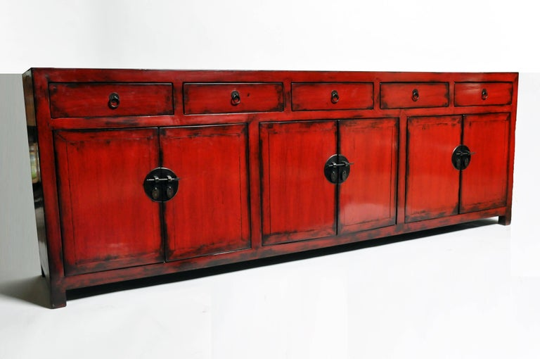 Red Lacquered Chinese Sideboard with Five Drawers and Three Shelves In Good Condition For Sale In Chicago, IL