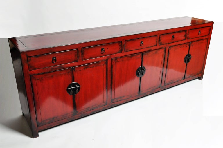 Contemporary Red Lacquered Chinese Sideboard with Five Drawers and Three Shelves For Sale