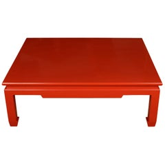 Red Lacquered Chinois Coffee Table