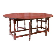 Red Lacquered English Table