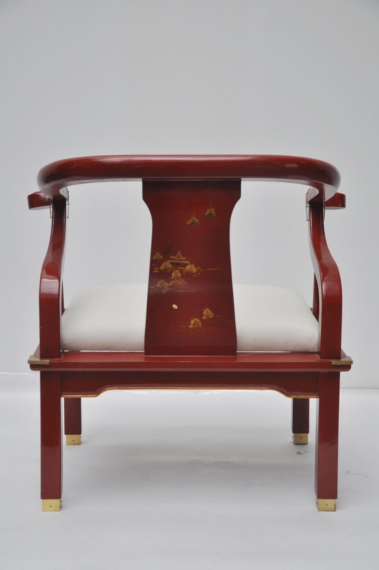 Wood Red Lacquered James Mont Style Horseshoe Chair For Sale