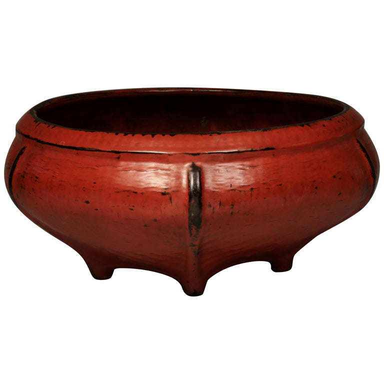 Red Lacquered Offering Bowl, Burma, Early 20th Century For Sale