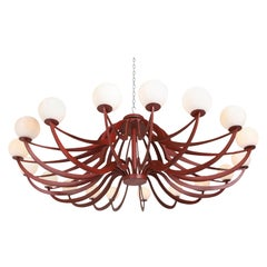 Red Lacquered Postmodern Chandelier Lapo Binazzi 'Attributed'
