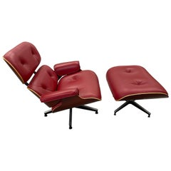 Red Leather and Cherry Eames 670/71 Chair and Ottoman, 2005