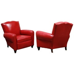 Red Leather Art Deco Mustache Club Chairs, Pair