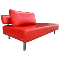 Red Leather Chaise by Nicoletti Italia