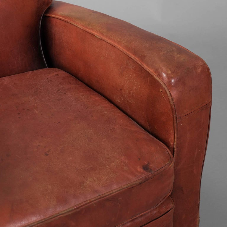 French Red Leather Club Armchair, circa 1940 For Sale